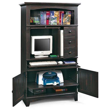sauder arbor valley computer armoire antiqued black paint