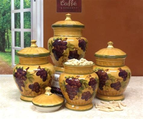 tuscan kitchen canister sets 4pc ceramic canister set tuscany grape new ebay