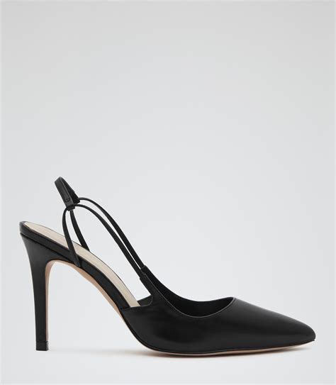 amelie black slingback court shoes reiss