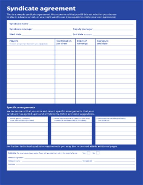 lottery syndicate agreement template word lottery syndicate form template fill printable