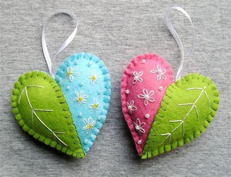 spring hearts felt ornament flowers handmade embroidery
