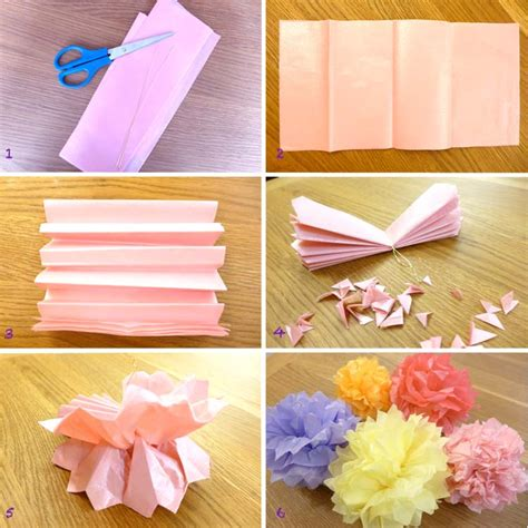 How To Make Tissue Paper Pom Poms - diy tissue paper pom pom