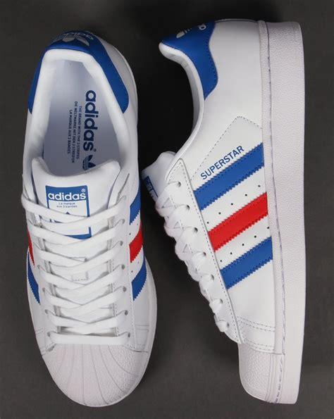 adidas superstar trainers white blue originals shell