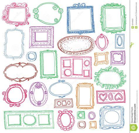 cornici disegnate insieme delle cornici disegnate a mano illustrazione