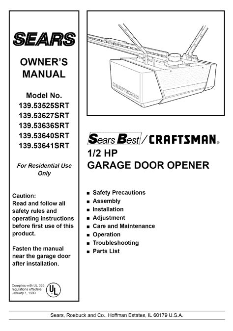 Garage Door Manual sears garage door opener 139 53525srt user guide manualsonline
