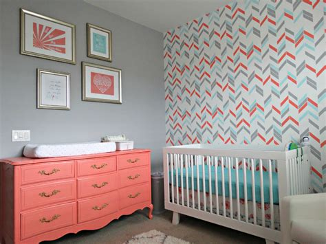 Noelle S Coral Aqua And Gray Nursery With Gold Accents Gray Nursery Decor