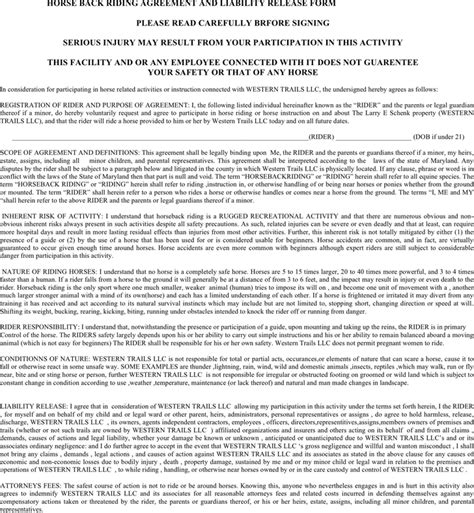 Free Maryland Horse Back Riding Agreement And Liability Release Form Doc 29kb 2 Page S Horseback Waiver Template