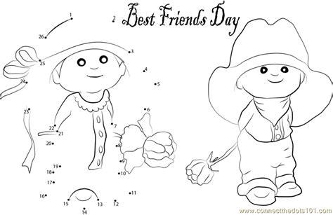 two lovely friendship dot to dot printable worksheet