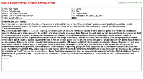 Conservation Officer Cover Letter by Conservation Officer Cover Letters Sles