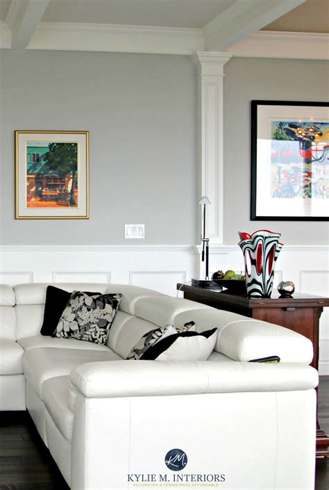 benjamin stonington gray in a contemporary living room with white leather black