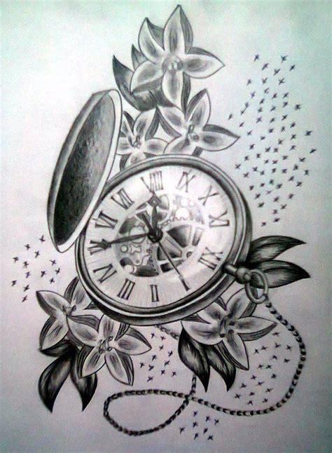 flower design watches grey ink pocket watch with flowers tattoo design tattoos