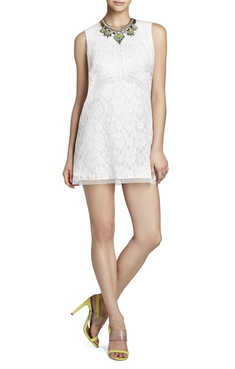 draped white dress bcbgmaxazria amelie draped sleeveless lace dress in white