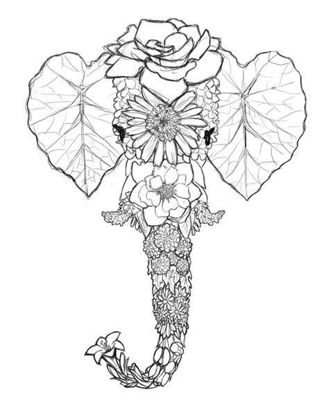 tattoo elephant sketch flower series elephant sketch by simonbagel on