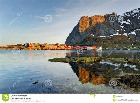 scenic town scenic town of reine village lofoten islands stock photo