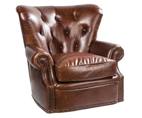 Tufted Leather Chesterfield Swivel Accent Chair Club Chesterfield Swivel Chair