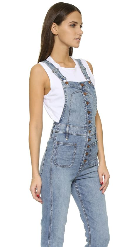 Button Overall madewell cropped overalls with button front in blue lyst