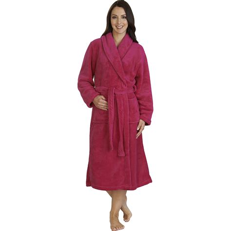 house coats womens long bathrobe ladies soft slenderella fleece dressing gown house coat ebay