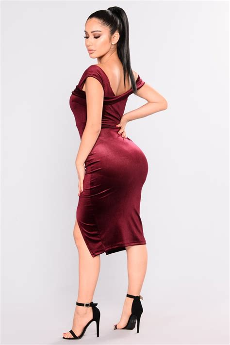 Fashion Wanita Dress Midi Dress joella velvet midi dress burgundy