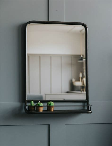 Industrial Bathroom Storage Large Industrial Mirror With Shelf Industrial Mirrors Industrial And Shelving