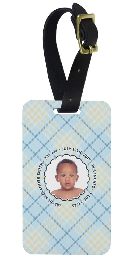baby boy photo aluminum luggage tag personalized