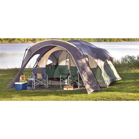 Cabin Dome Tent by Northpole 174 2 Room Dome Tent Gray Green White