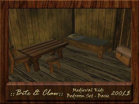 medieval bedroom set second life marketplace b c medieval kids bedroom set natural bed chair