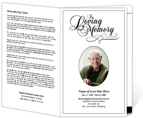 in memory cards templates printable funeral programs simple funeral program with