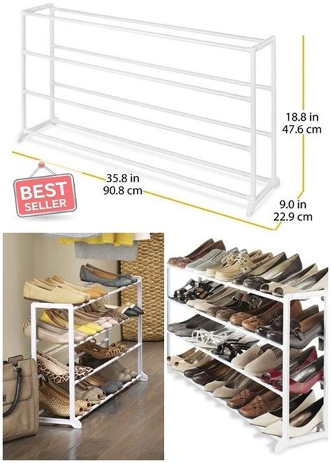 whitmor white 20 pair shoe rack storage organizer holder shoe rack organizers white resin storage home woman men 20
