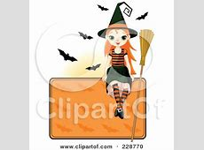 Clipart Beautiful Witch Riding A Broomstick With A Kitten ... About:blank Free Halloween Clipart