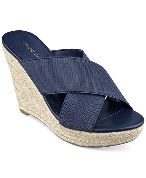 wedge sandals blue lyst marc fisher engage slide platform wedge sandals in blue