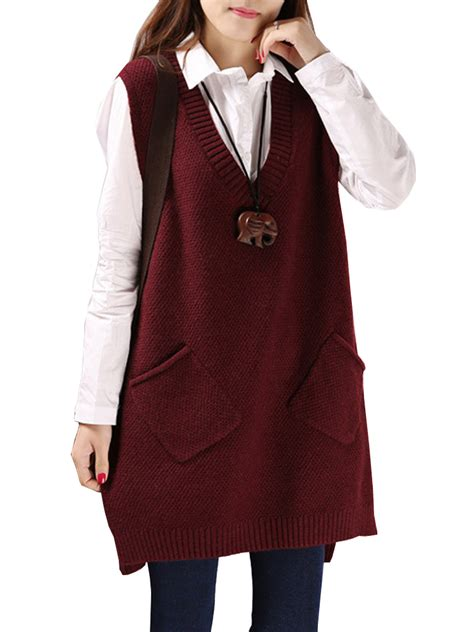 womens knit vest pocket casual color sleeveless v neck knit vest
