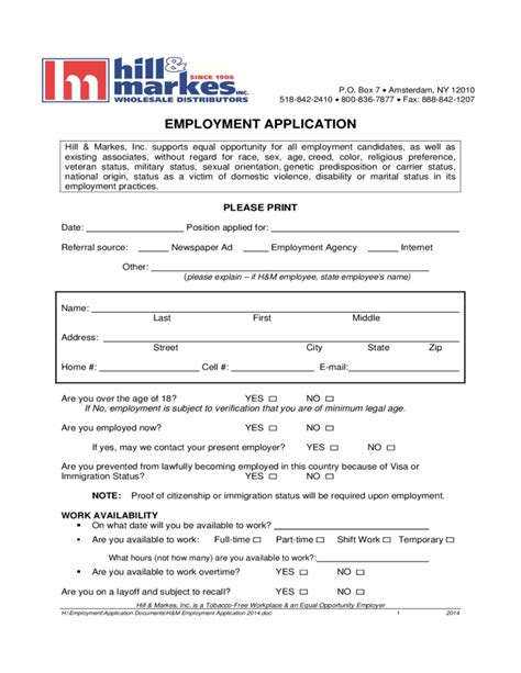 iga printable job application form hill markes employment application form free download