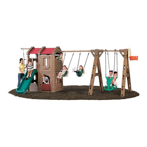 2 swing swing set step2 naturally playful adventure lodge play center with