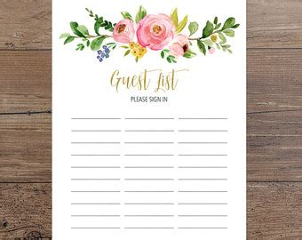 printable bridal shower sign in sheet guest sign in sheet etsy