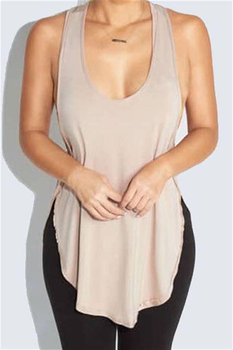 31094 Apricot Leisure Size M leisure u shaped neck sleeveless backless asymmetrical apricot polyester tank top camisole tank