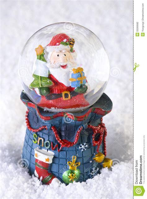 santa ckaus with snow decoration snow globe with santa claus stock photography image 33269582