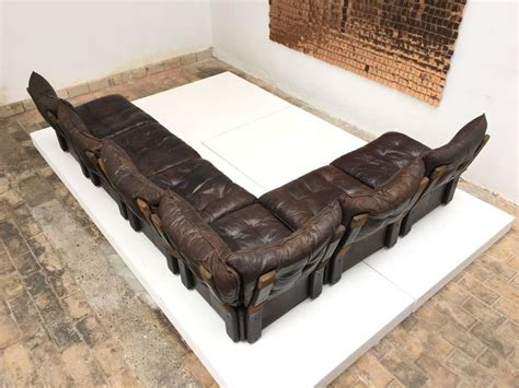 distressed leather sofa brown gypset 1970s chocolate brown distressed leather sectional