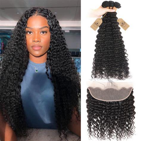 deep wave virgin hair weave  bundles  lace frontal