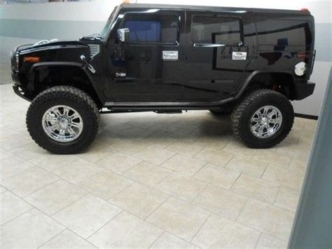 buy used 03 hummer h2 lifted chrome wheels tv dvd leather