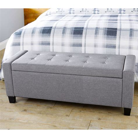Verona Ottoman Storage Blanket Box Hopsack Fabric Seat Ottomans For Seating