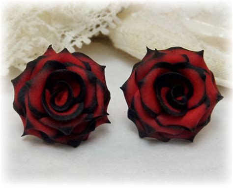 black rose themes black tip red rose studs earrings red black by