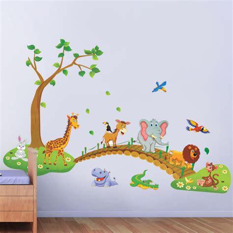 Sticker Stiker Anak Edukatif Animals Binatang jungle animal wall stickers for rooms home decor giraffe elephant birds