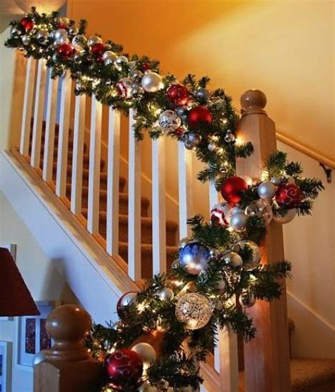 how to decorate banister with garland 37 beautiful christmas staircase d 233 cor ideas to try digsdigs