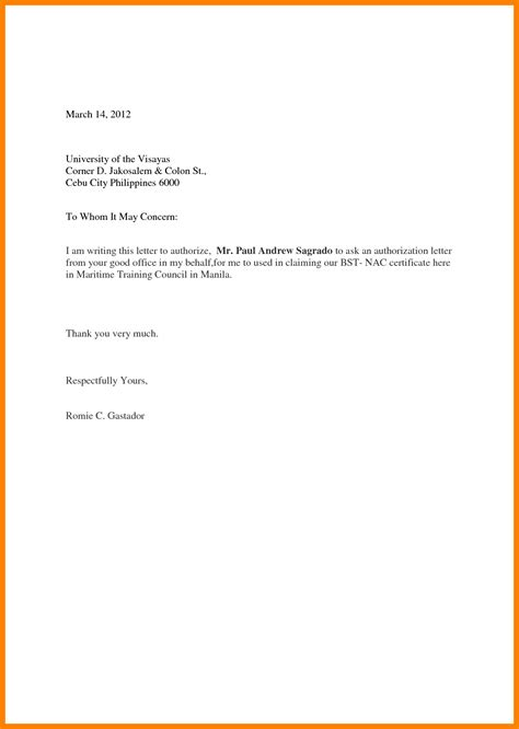 authorization letter format doc 5 sle authorization letter to claim documents handy