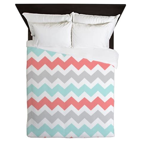 Gray Teal And Coral Bedding by Coral Aqua Grey Chevron Stripesqueen Duvet By