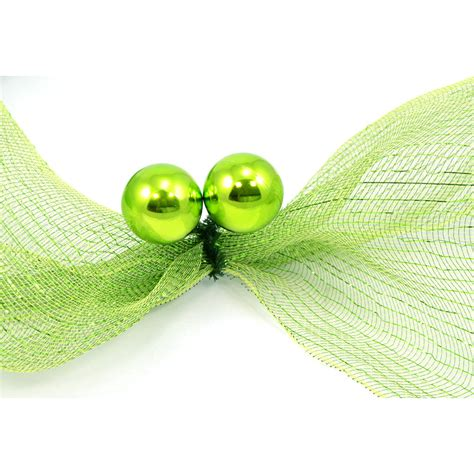 6 quot green tinsel ties w 50mm balls lime green set of 12