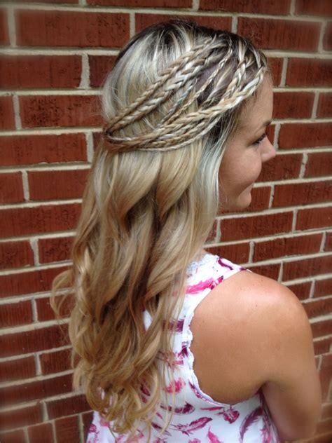 how to do hippie hairstyles hippie braids half up curls youtube