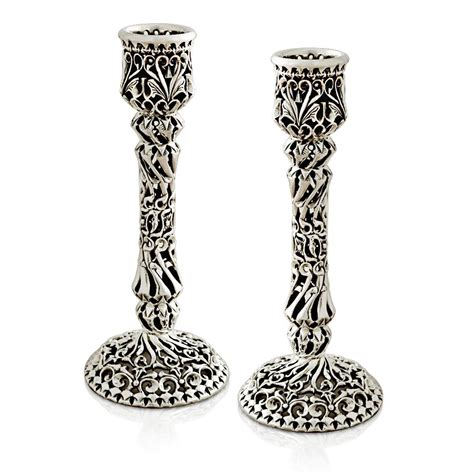 shabbat candlesticks swirled sterling silver shabbat