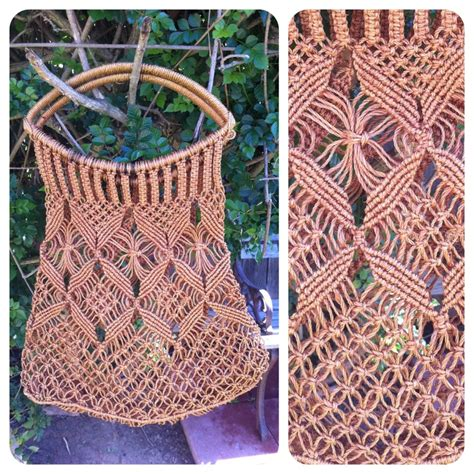 70s Macrame - vintage 70s macrame purse handbag tote brown wood
