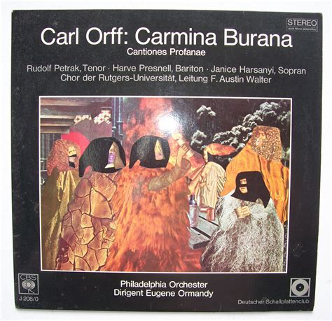 Author Burana by Carl Orff 1895 1982 Carmina Burana Lp Eugene Ormandy